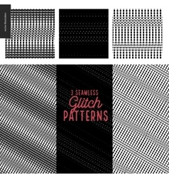 Glitch patterns set vector