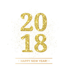 gold 2018 happy new year on white background vector image