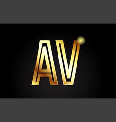 Gold alphabet letter av a v logo combination icon vector