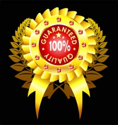 Golden quality badge with ribbon vector