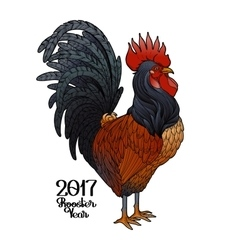 Graphic decorative rooster vector image