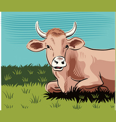 Grazing cow lying in a meadow while cud vector