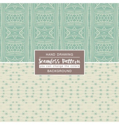 Green backgrounds with seamless patterns vector image