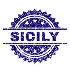 Grunge textured sicily stamp seal vector
