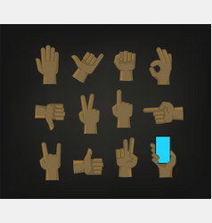 Hand gesture comic style icons set vector