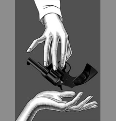 hand holding in fingers a gun vector image