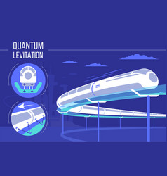 High speed futuristic quantum levitation train vector