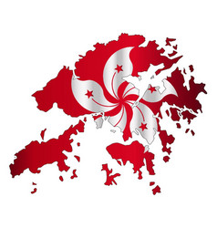 Hong kong outline map with flag vector