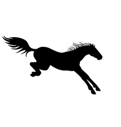 horse black silhouette a landing vector image