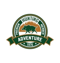 Hunting club badge with wild boar and forest vector