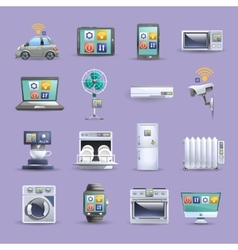 Internet things flat icons set vector