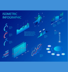 isometric set infographics with data financial vector image
