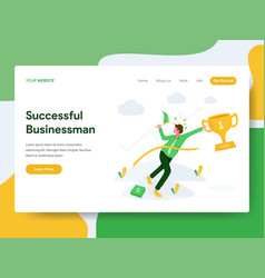 landing page template successful businessman vector image