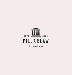 Law pillar logo hipster vintage retro icon vector