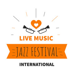 Live music jazz festival isolated icon trumpet vector