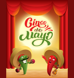 Mexican cactus and red chili pepper perform on vector