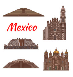 Mexico landmarks aztec architecture icons vector