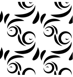 Monochrome pattern of black doodles and curls in vector