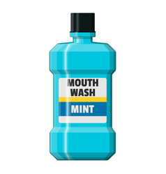 Mouthwash plastic bottle oralcare equipment vector