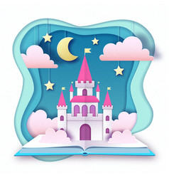Open fairy tale book with castle with clouds vector