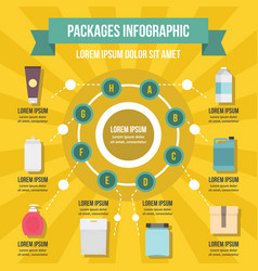 Packages infographic concept flat style vector