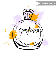 Perfume bottle with splashes vector