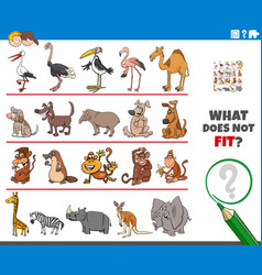 Picture that not fit in row game with animals vector