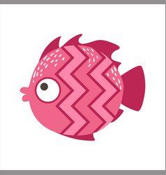 Pink zigzag pattern fantastic colorful aquarium vector