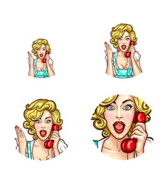 Pop art woman or girl speaking by phone receiver vector
