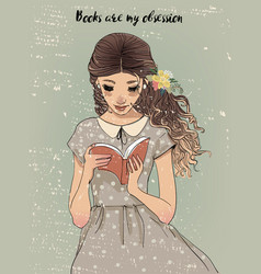 portrait of a young woman with book vector image