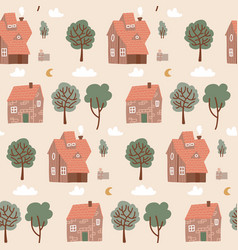 seamless pastel colorful pattern with houses vector image