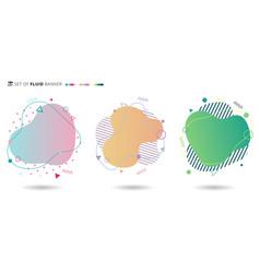 set banner colorful modern fluid shapes vector image