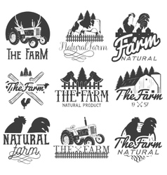 Set of farm labels Monochrome logos vector