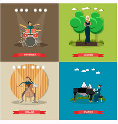 Set of singers and musicians concept flat vector
