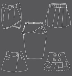 set of skirts on white background vector image