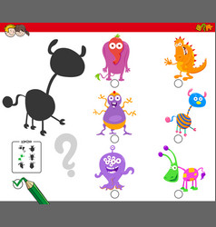 shadows activity with cartoon monster characters vector image