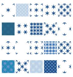 simple snowflake seamless set vector image