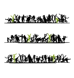 sketch people crowd for your design vector image