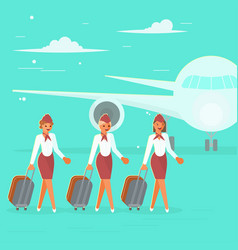 Stewardesses characters with suitcase vector