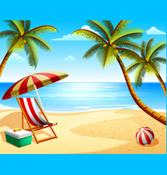summer beach vacation view with beach chair vector image