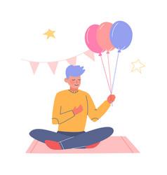 Teenage boy having fun at birthday party boy vector