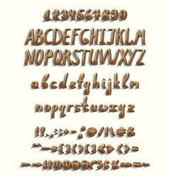 three dimensional font with a full set of elements vector image