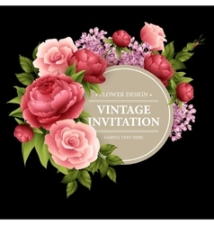 Vintage Greeting Card with Blooming Flowers vector image