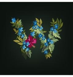W letter Flower alphabet Colorful font vector