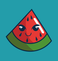 watermelon fresh fruit character handmade drawn vector image