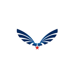 Wing star abstract fly emblem logo vector