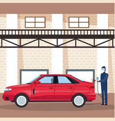 worker on car factory vector image