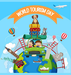 world tourism day logo with tourists and famous vector image