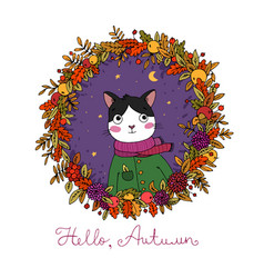 wreath of autumn leaves portrait of a cute vector image