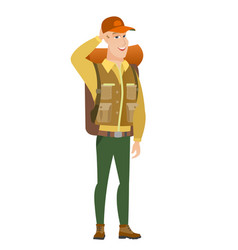Young caucasian traveler laughing vector